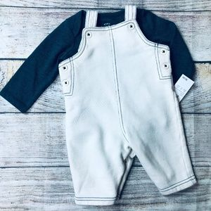 0-3m Baby Boy bodysuit and cotton overall set